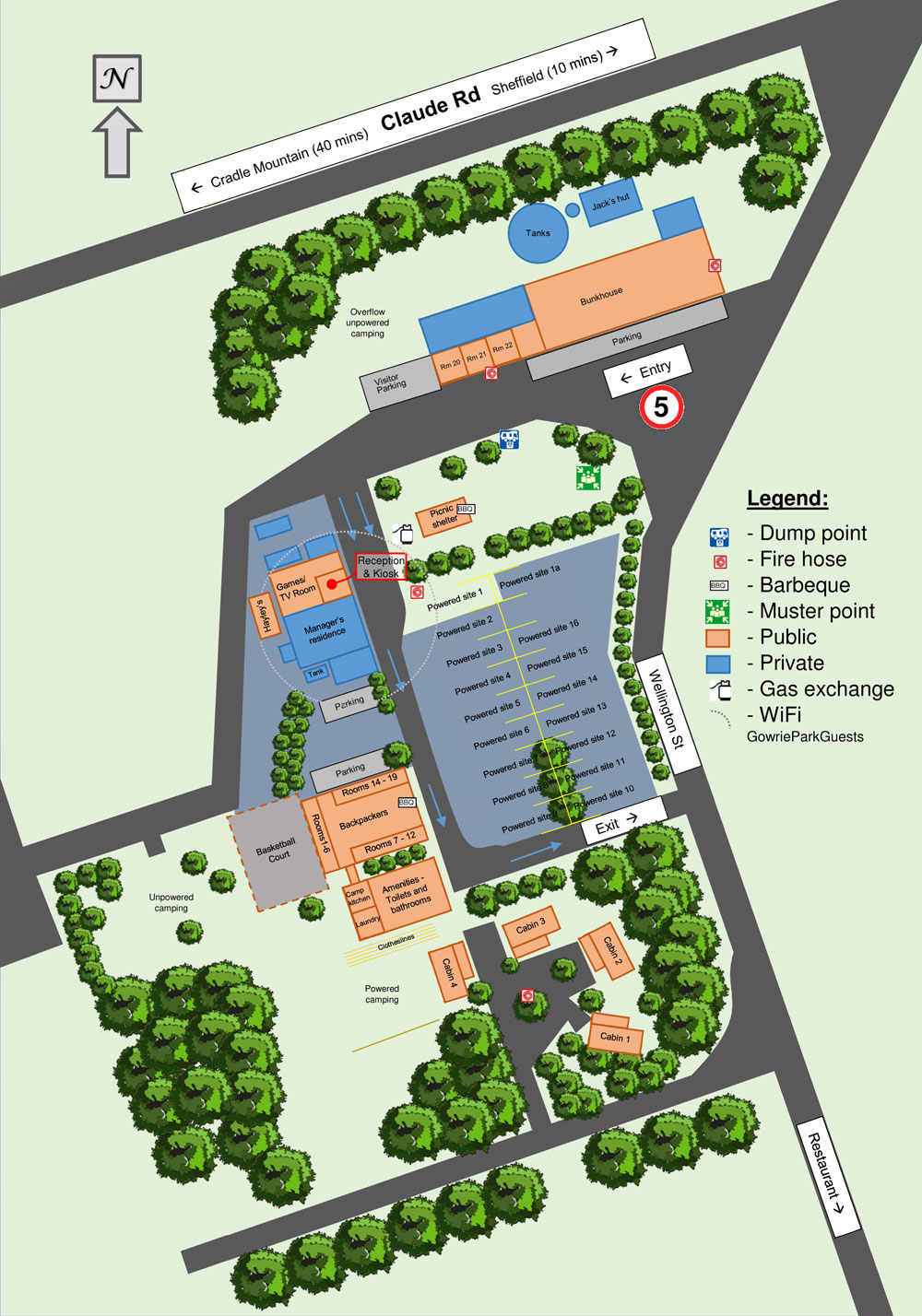 Gowrie Park Wilderness Village Guest Map 2019
